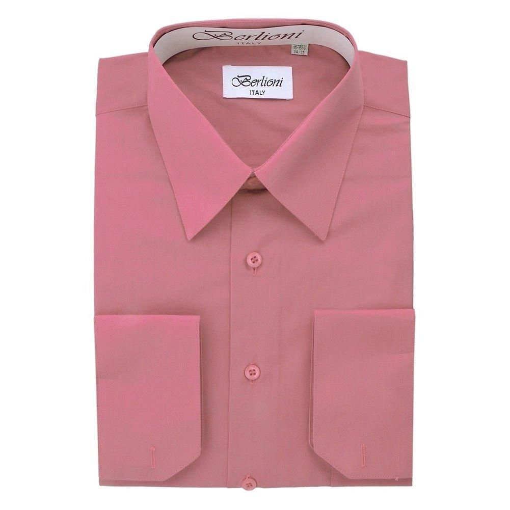 Berlioni Pink White Two Tone Mens Dress Shirt