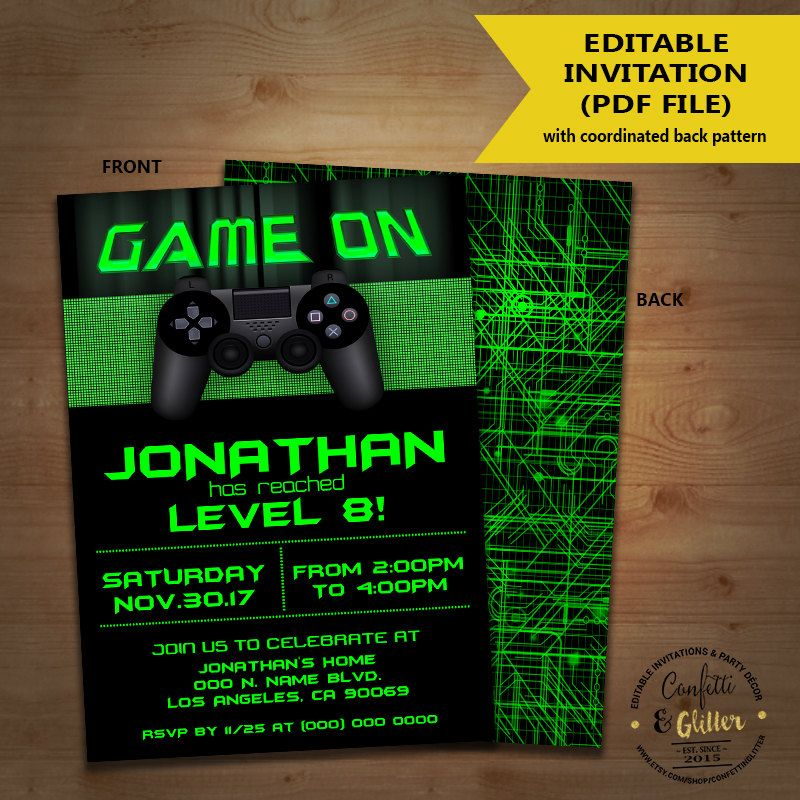 Video game birthday party invitation game on invite gaming party video game birthday party invitation game on invite gaming party games truck green invite you edit stopboris Image collections