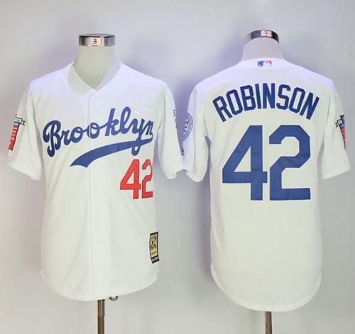 Mitchell and Ness Dodgers  42 Jackie Robinson Stitched White Throwback MLB  Jersey d64f3d19699