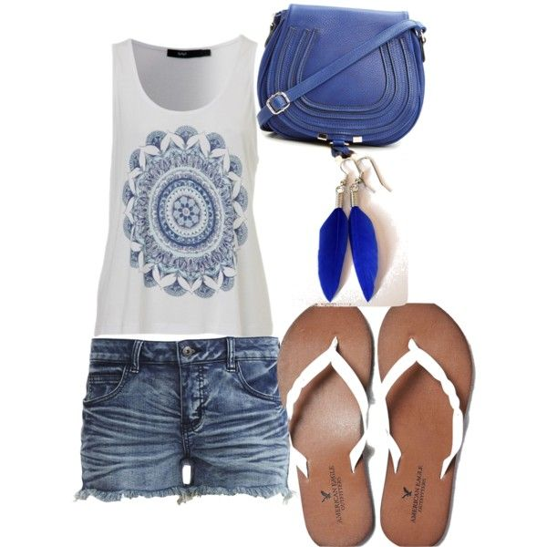 A fashion look from December 2014 featuring VILA shorts, American Eagle Outfitters flip flops and DailyLook handbags. Browse and shop related looks.