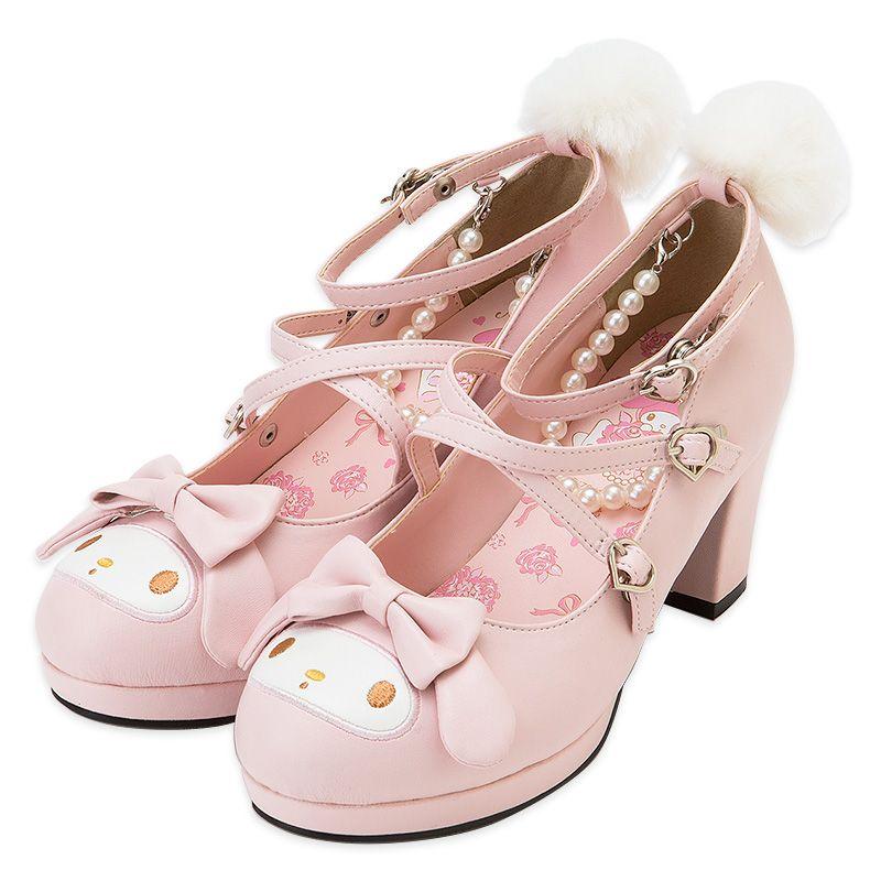 Women's Sweet Bowknot Slip On Pumps High Block Heels Court Shoes Cosplay Dress Shoes Sandals