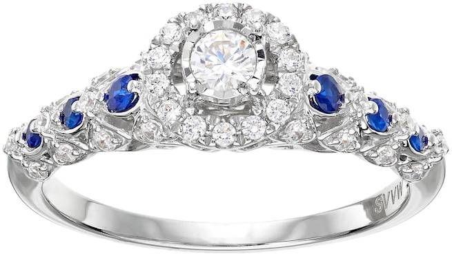Simply Vera Vera Wang 14k White Gold 1 3 Carat T W Diamond Sapphire Halo Engagement Ring Diamond Engagement Rings White Gold Rings Engagement Rings