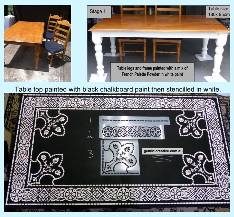 Three Stencils Used To Add Interest To My Freshly Painted Table. Stencils  By Gemini Creative