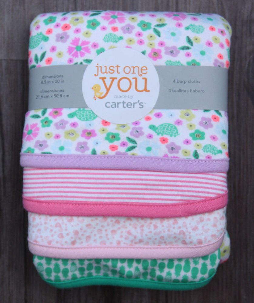 Carter S Just One You Baby Girl Set Of 4 Burp Cloths Flowers