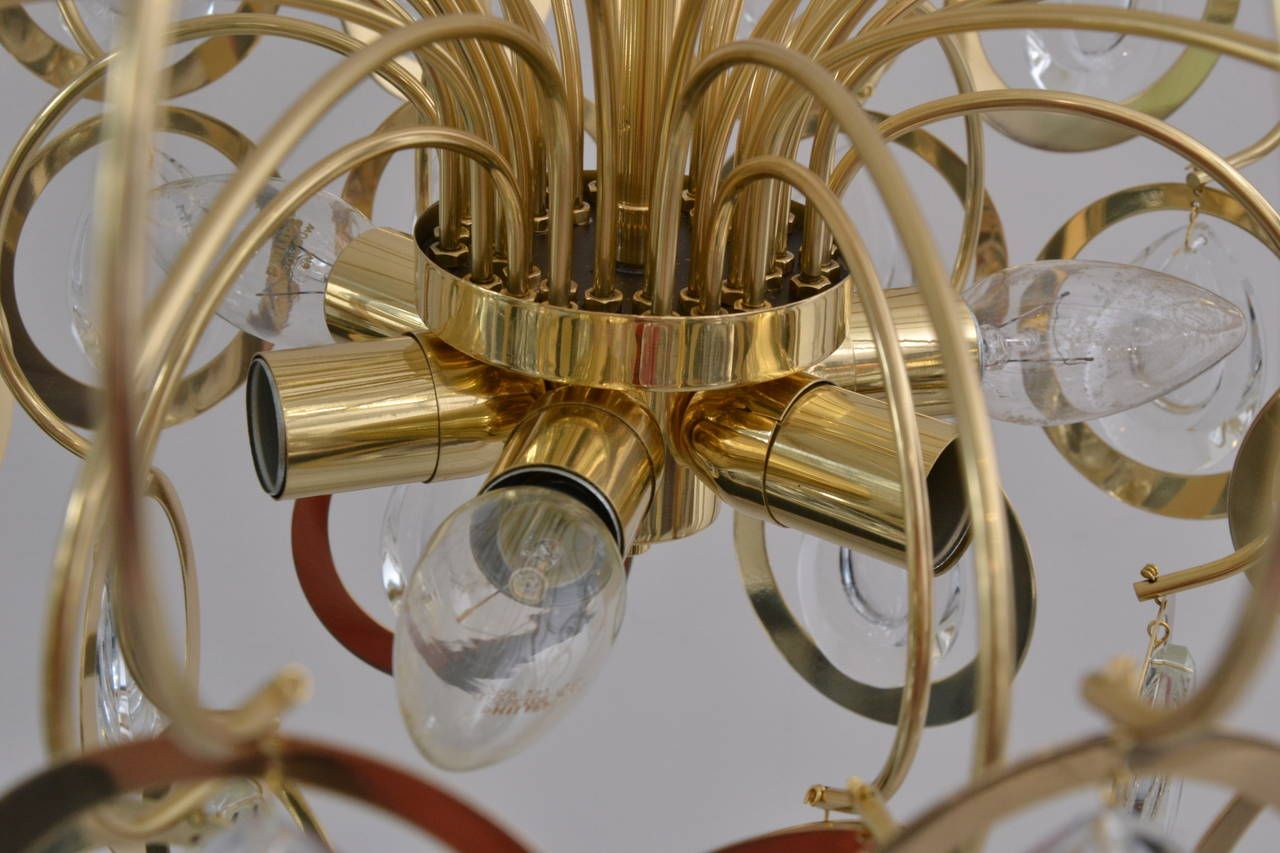 Italian Sciolari Style Glass and Brass Chandelier, 1960s | From a unique collection of antique and modern chandeliers and pendants  at https://www.1stdibs.com/furniture/lighting/chandeliers-pendant-lights/