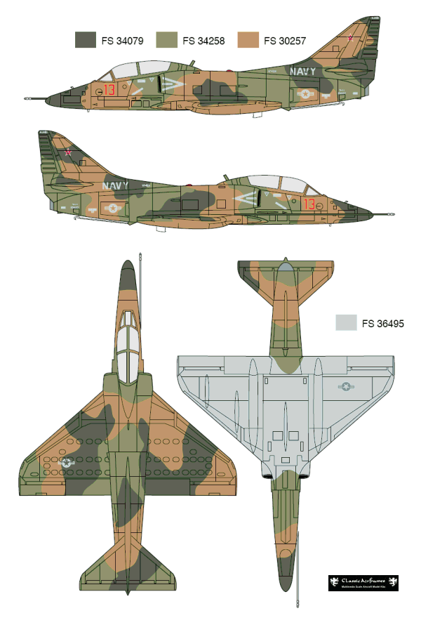 TA-4J VF-126 Adversary Color Profile and Paint Guide   Plane camo ...