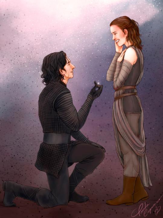 Rey bending down to kiss him | Rey And Ben Solo/Kylo Ren