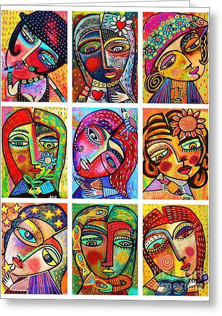 0 Folk Art Ladies by Sandra Silberzweig