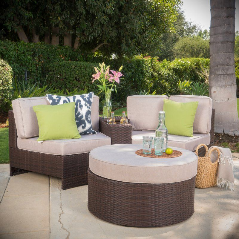 Amazing Outdoor Best Selling Home Ibarra Ibiza Wicker 4 Piece Curved Patio Seating  Set With Ottoman