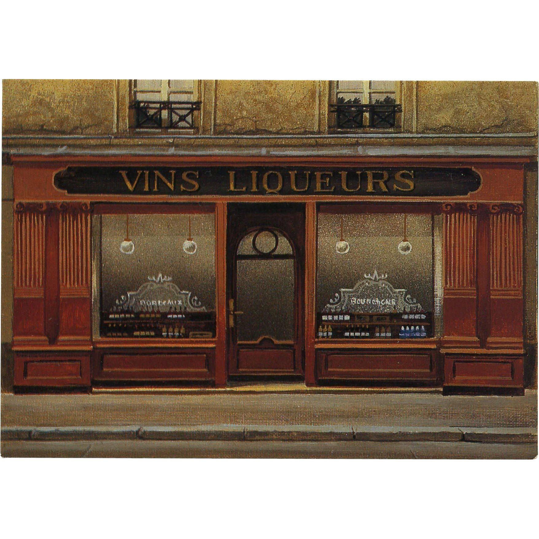 Wine And Liquor Paris Storefront By French Painter Andre Renoux