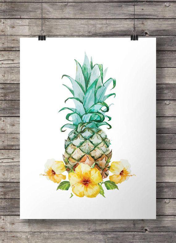 Pineapple Printable Art Tropical Aloha Hibiscus Watercolor