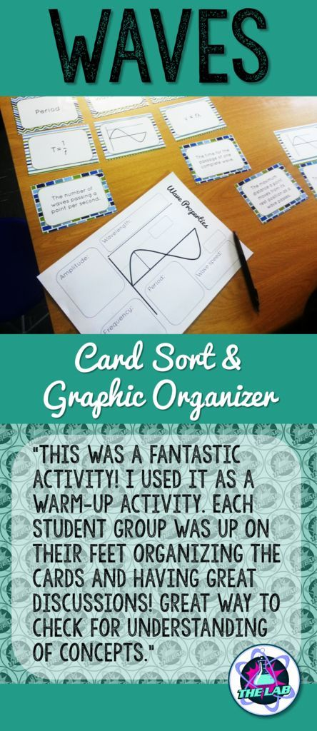Waves Card Sort & Graphic Organizer   Teaching Ideas   Graphic