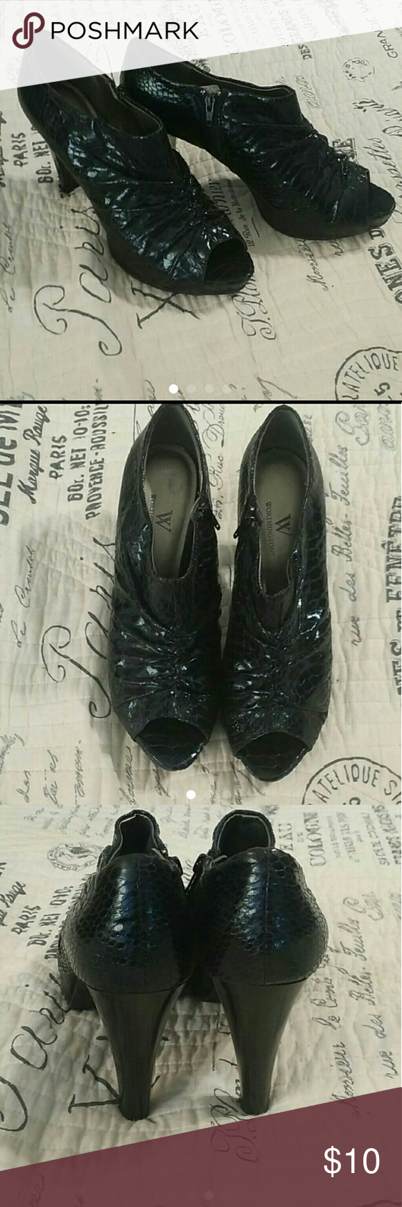 WORTHINGTON BLACK HEELS / BOOTIES SZ 8.5 Worthington Black Heels / Booties size 8.5 (8 1/2). In good condition, have alot of life left in these shoes! Worthington Shoes Ankle Boots & Booties