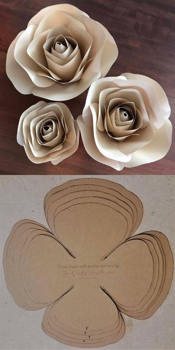 Papier Rose druckbare Vorlagen - druckbare Papierblumenvorlagen - DIY große Papierblumen, Hochzeit d #paperflowerswedding