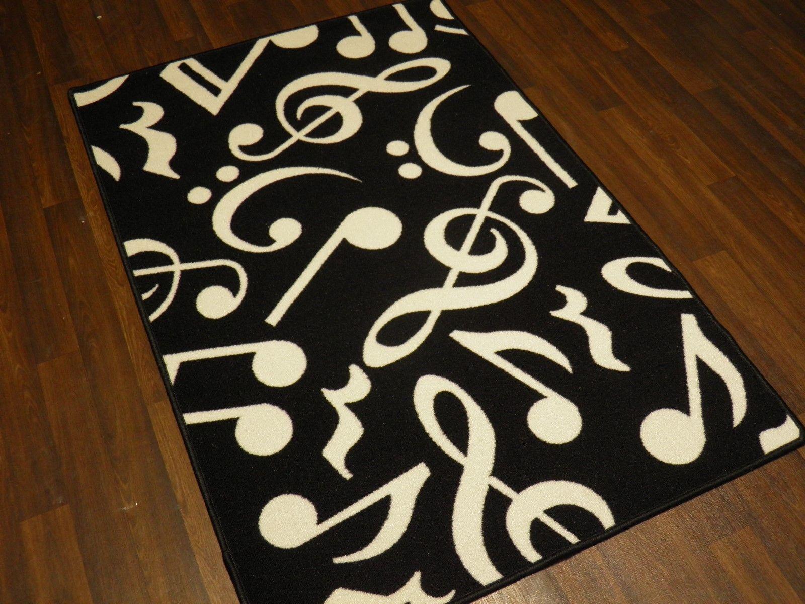 Music Note Black White Non Slip New Mats Rugs School Home 100cmx150cm Bargains Ebay