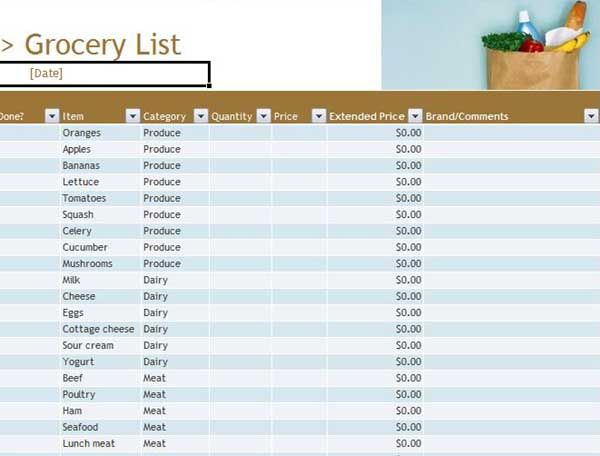 grocery list spreadsheet - Pinarkubkireklamowe
