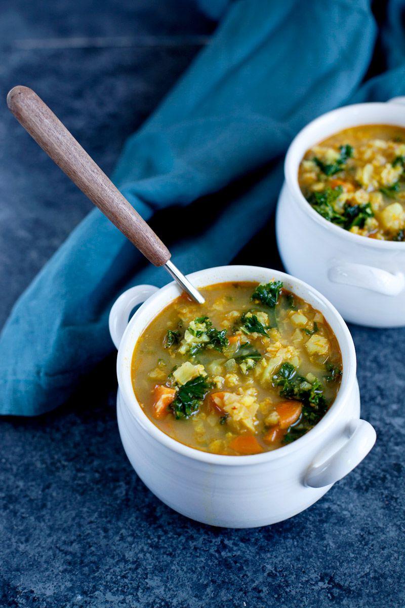 Soupe de chou-fleur au curry, kale et lait de coco | Recipe