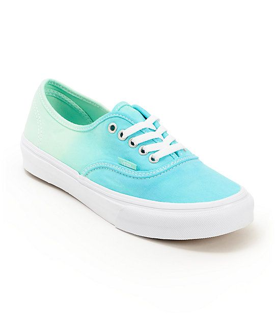 ce2626e68b91 Keep your look timeless with a pop of color in the Vans Authentic Mint  Ombre shoes for girls. The canvas upper is in a Mint and Turquoise ombre  fade ...