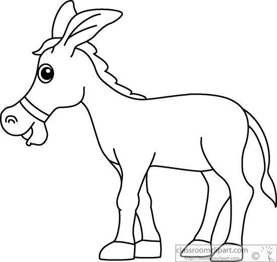 donkey-cartoon-style-clipart-black-white-outline-914.jpg ...