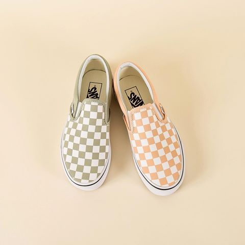 58626ebc45e0e9 Bleached Apricot 🍑 + Desert Sage 🌵 Summer colors from  vans Classic Slip  On