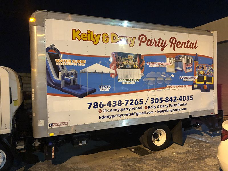 Party Rental Box Truck Full Wrap Car Wrap Party Rentals Commercial Vehicle