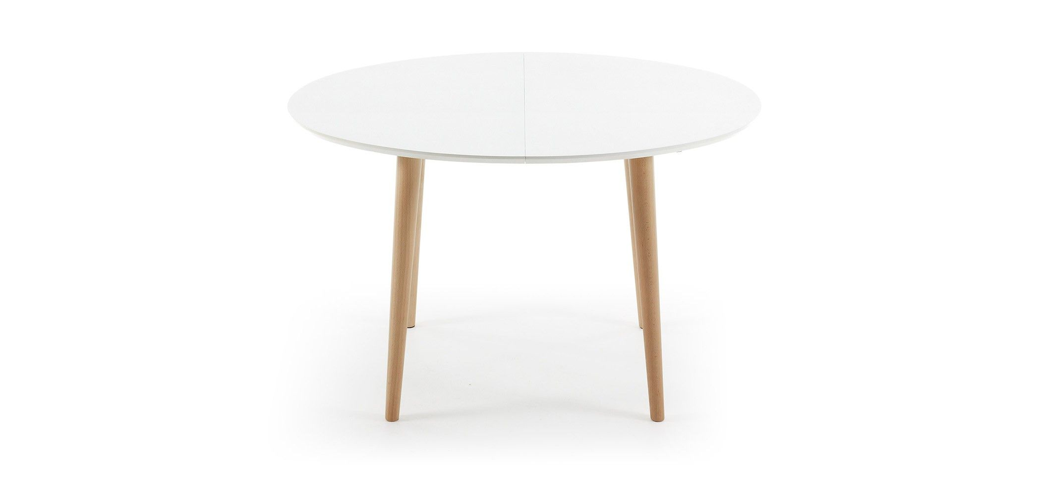 Table oqui extensible ovale 120 200 cm naturel et blanc for Table ovale extensible