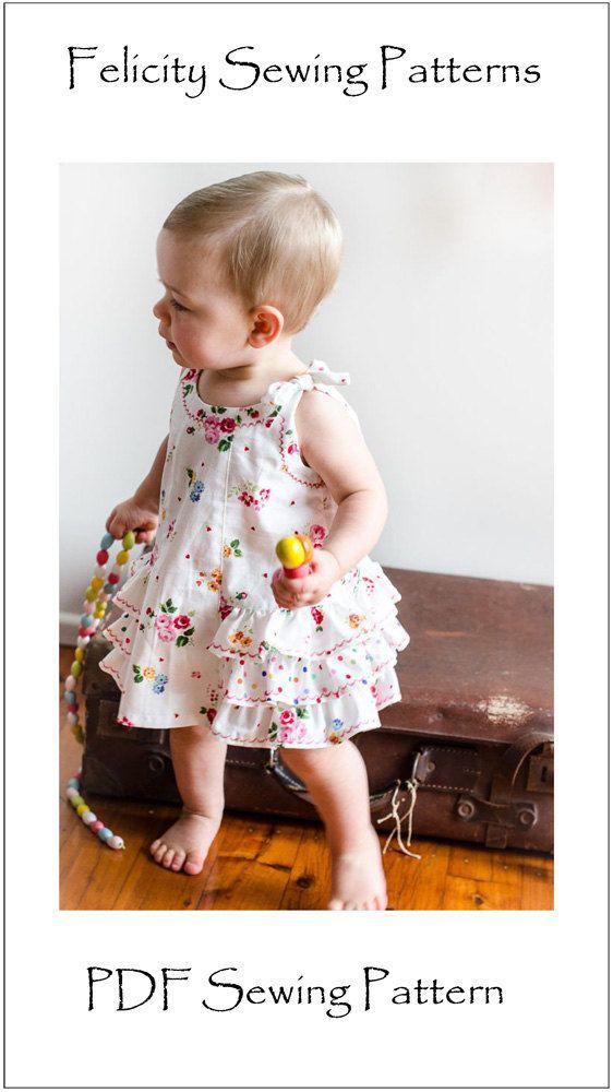 Baby Schnittmuster Kleid Sunny und Bloomers Pdf-Schnittmuster, Nennmaße Baby-Mädchen Kleid Muster von 3 Monaten bis 6 Jahren von Felicity Nähen Muster