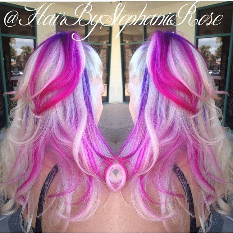 Purple to pink ombre peekaboo on blonde hair 1 hair pinterest purple to pink ombre peekaboo on blonde hair 1 pmusecretfo Images