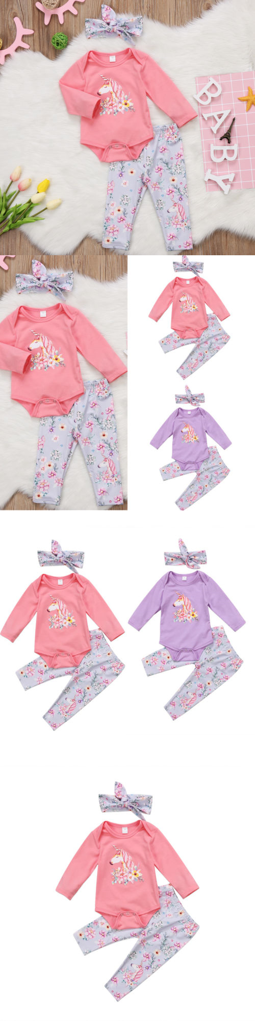 Baby Girls Clothing: Us Stock Unicorn Newborn Baby Girls Top Romper Long Pants Outfits Clothes 0-24M -> BUY IT NOW ONLY: $8.54 on eBay!