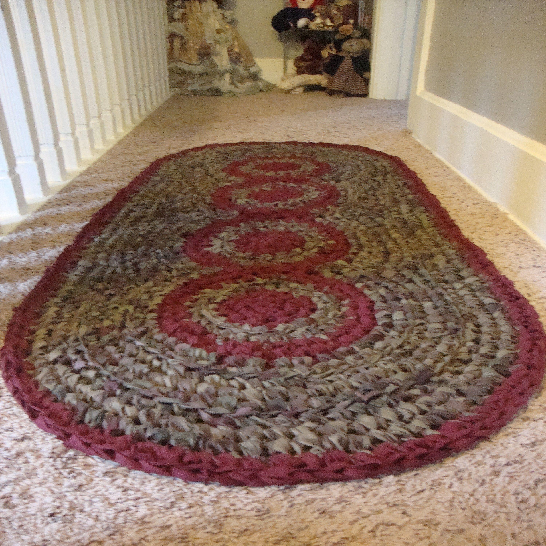Sold Hand Crocheted Oval Rag Rug Main Colors Peach And By Eeecrafter 45 00 Crochet Rag Rug Rag Rug Tutorial Rag Rug