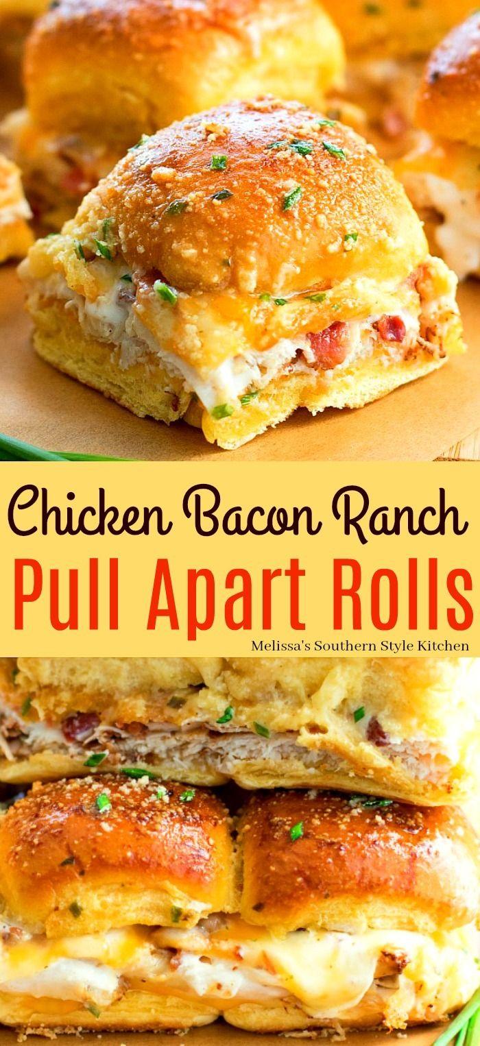 Chicken Bacon Ranch Pull Apart Rolls #sandwichrecipes