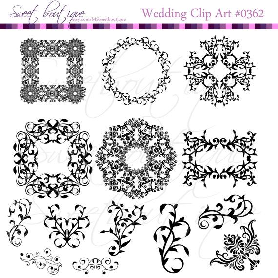 Flourish Frames Clip Art Vintage Decorative Wedding Clipart Digital