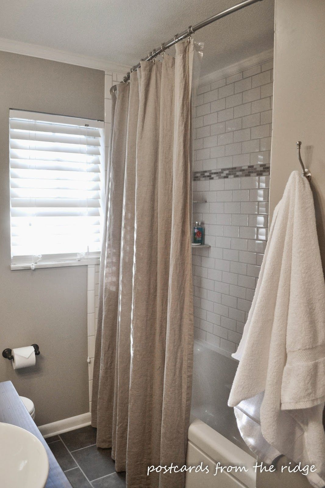 White shower curtain ideas - Hall Bath Renovation Reveal And Details Extra Long Shower Curtainlong