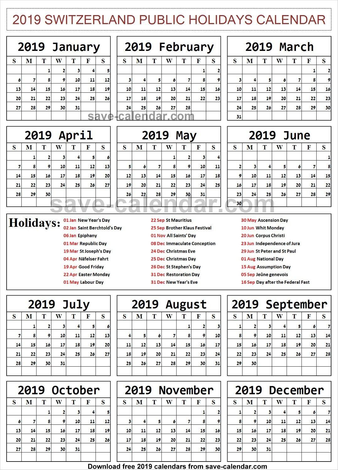 2019 Calendar With Holidays Switzerland Printable Holiday
