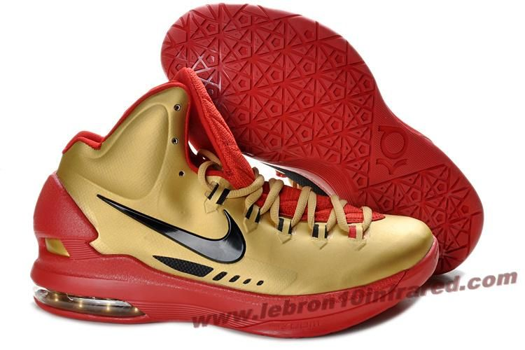 Nike Zoom KD 5 Gold Red Black Basketball Shoes  Retro