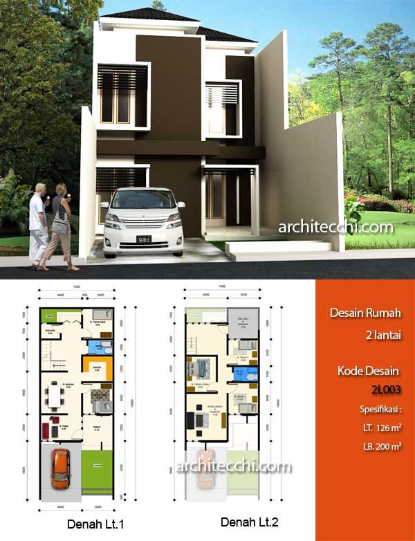 Sketsa Denah Rumah Minimalis Modern 2 Lantai