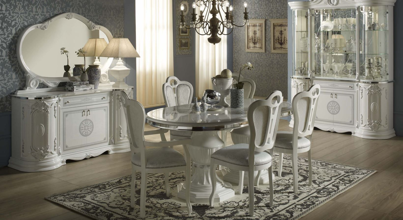 Geena White High Gloss Italian Made Dining Room Furniture