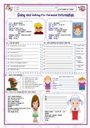 english worksheet giving and asking for personal information 2 worksheets esl english. Black Bedroom Furniture Sets. Home Design Ideas
