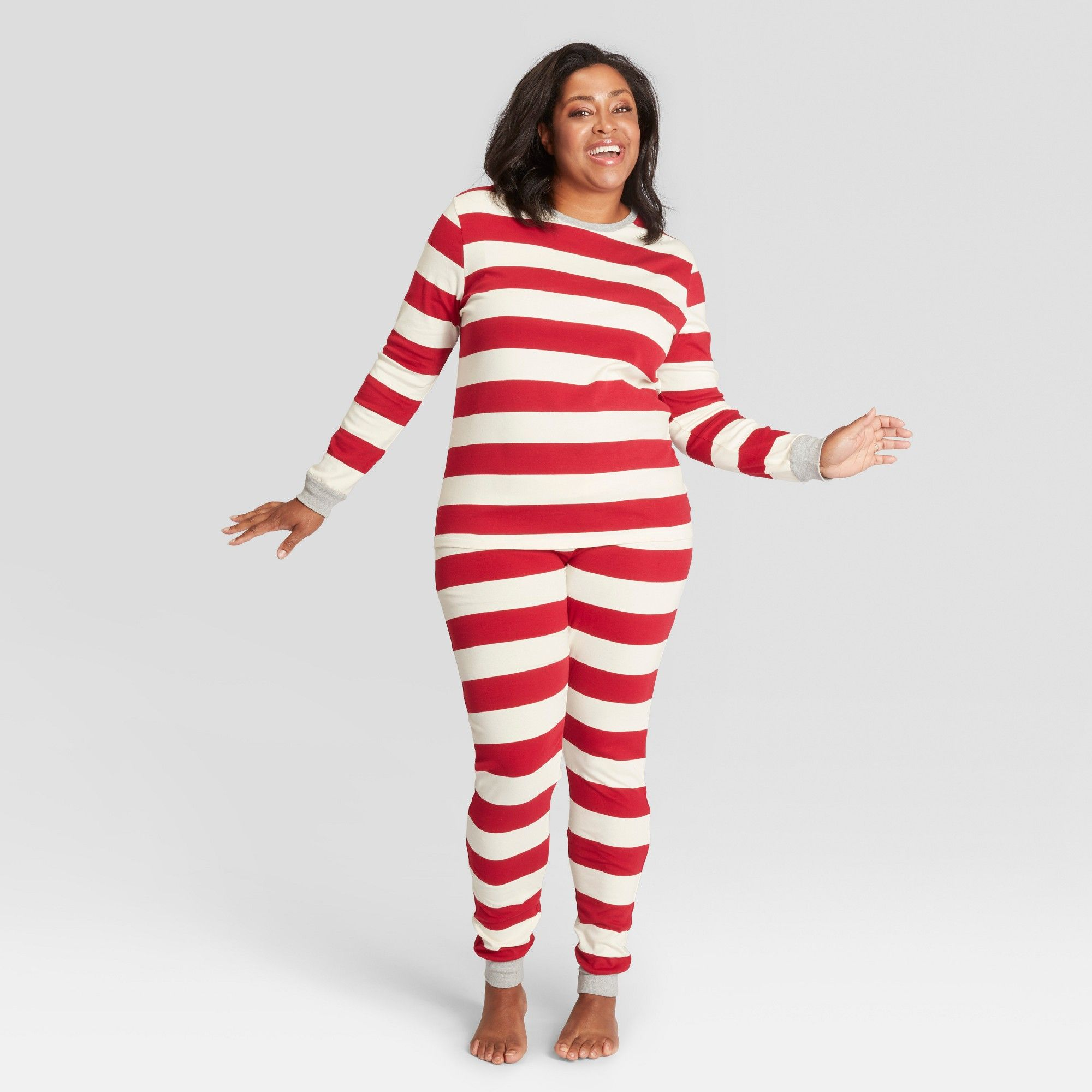 74279e1f2f Burt s Bees Baby Women s Striped Holiday Rugby Pajama Set - Red XS ...