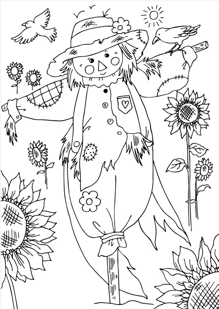 Scarecrow Fall coloring pages, Coloring pages, Halloween