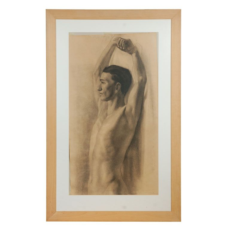 Charcoal Drawing Of Male Nude | From a unique collection of antique and modern drawings at https://www.1stdibs.com/furniture/wall-decorations/drawings/