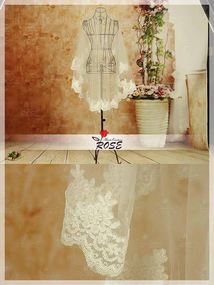 Wedding Dress Veil Onelayer Lace Edge Bridal by RoseHauteCouture, $29.00