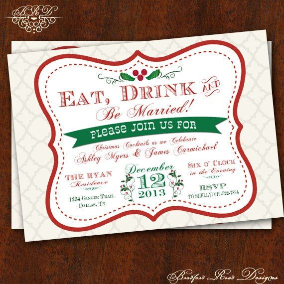 eat drink be married christmas wedding shower invitation