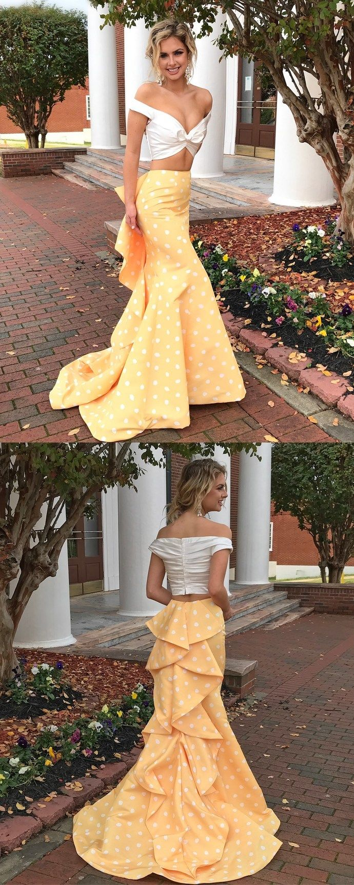 Two piece white and yellow polkdots mermaid long prom dress