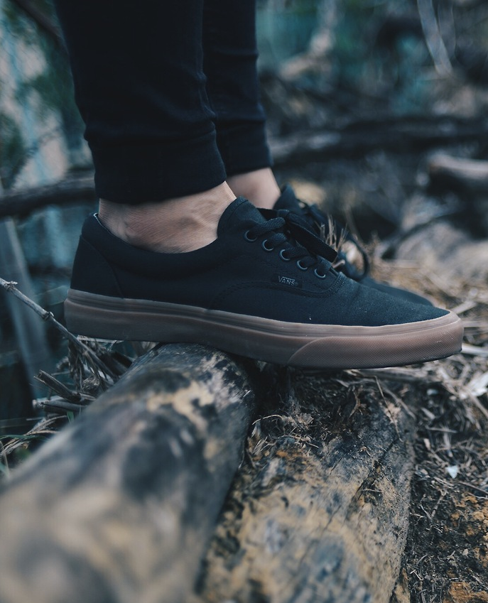 vans era classic all black skate shoes mens