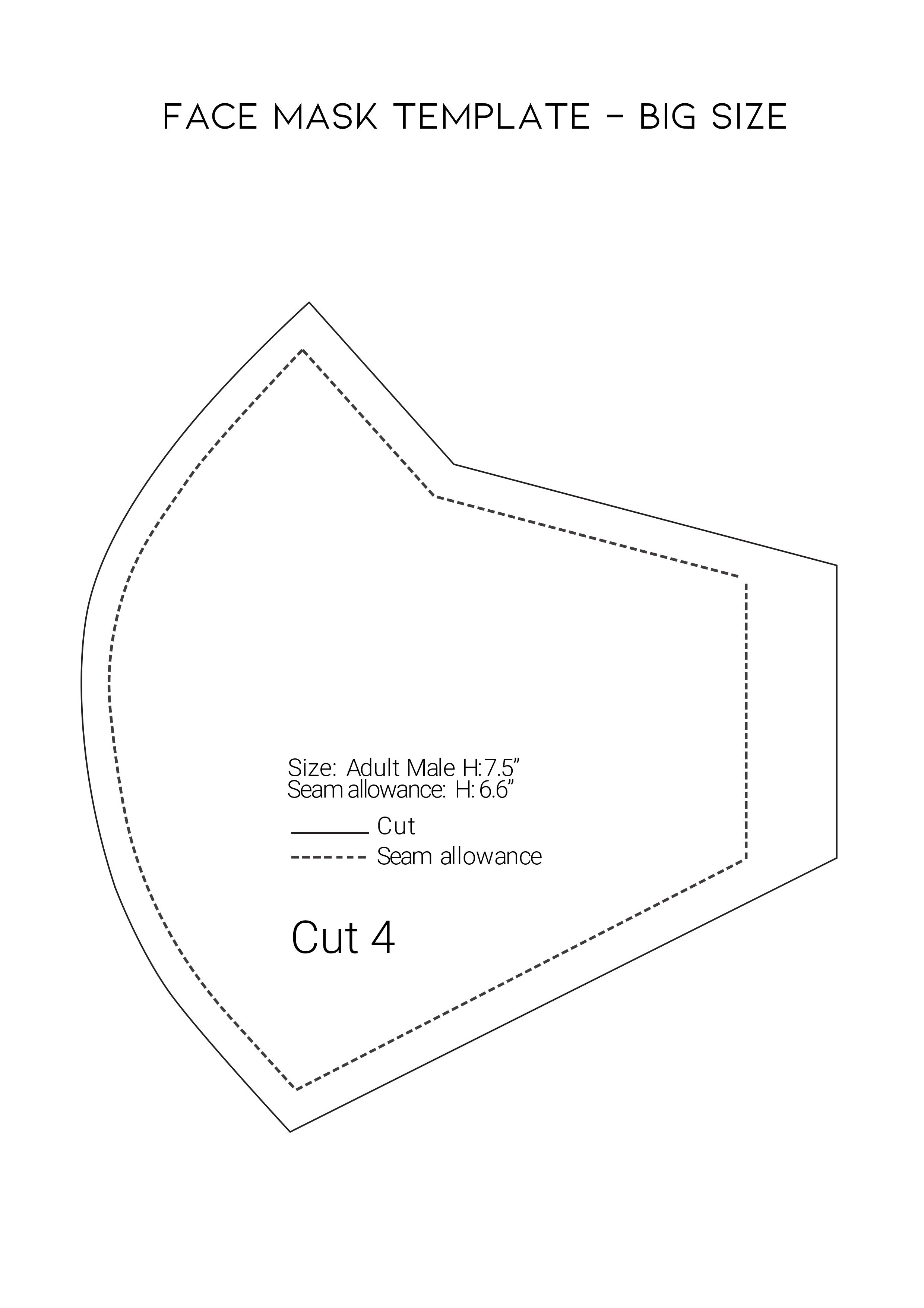 Face Mask Template Sewing Pattern Big Size for Adu