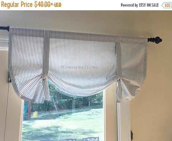 Tie Up Curtain Classic Ticking Stripe Black White Strip Etsy