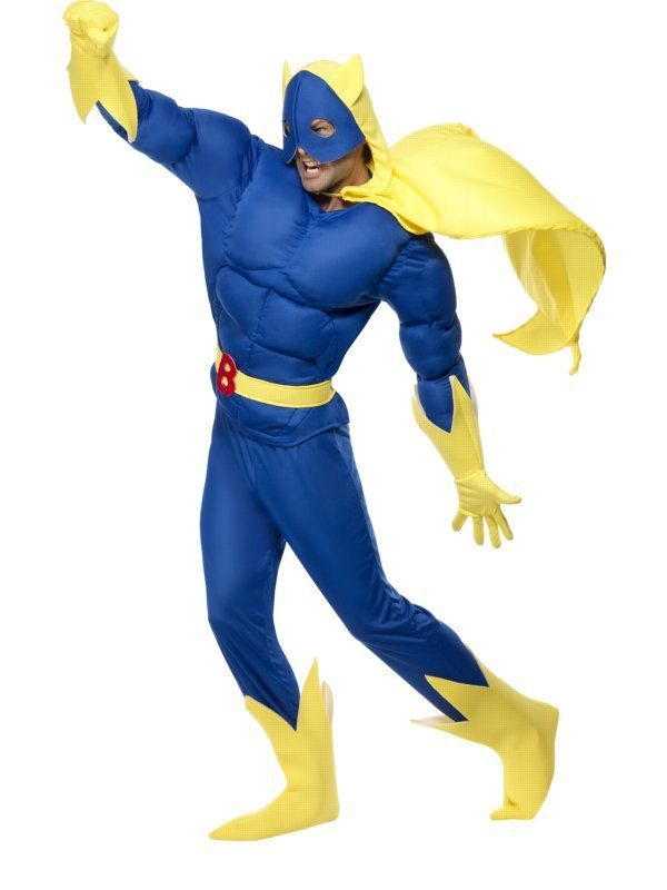 Licensed Bananaman Costume Mens Ladies Cartoon Superhero Super Hero Outfits Blue