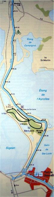Canal du Midi-Die Kanalstrecke  von Narbonne nach Port-la-Nouvelle