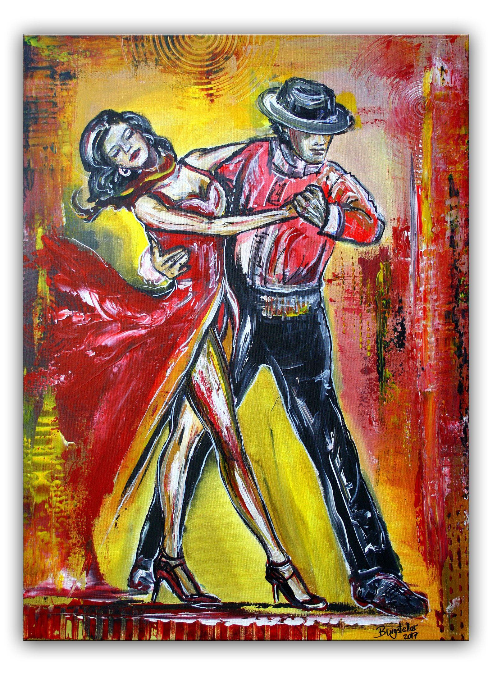 Tänzerbild, Tanzpaar, Tanz Gemälde rot gelb 60x80 | Originals